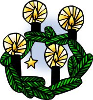 Icon1 Advent 01 Wreath (Color) (Clip Art)